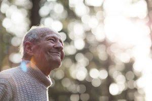 Man in dementia care enjoying the day