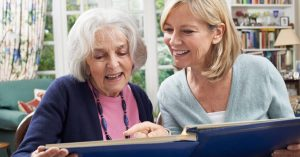 Woman provides senior care to her older friend
