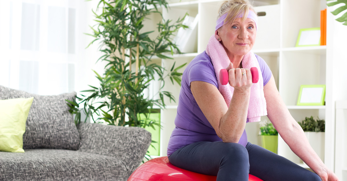 Woman doing in-home exercises
